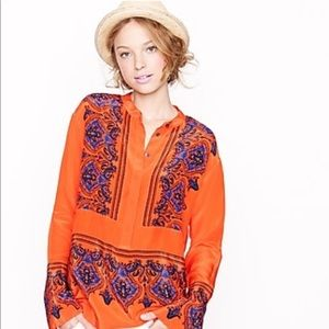 Jcrew dervish paisley flame orange silk  tunic-top